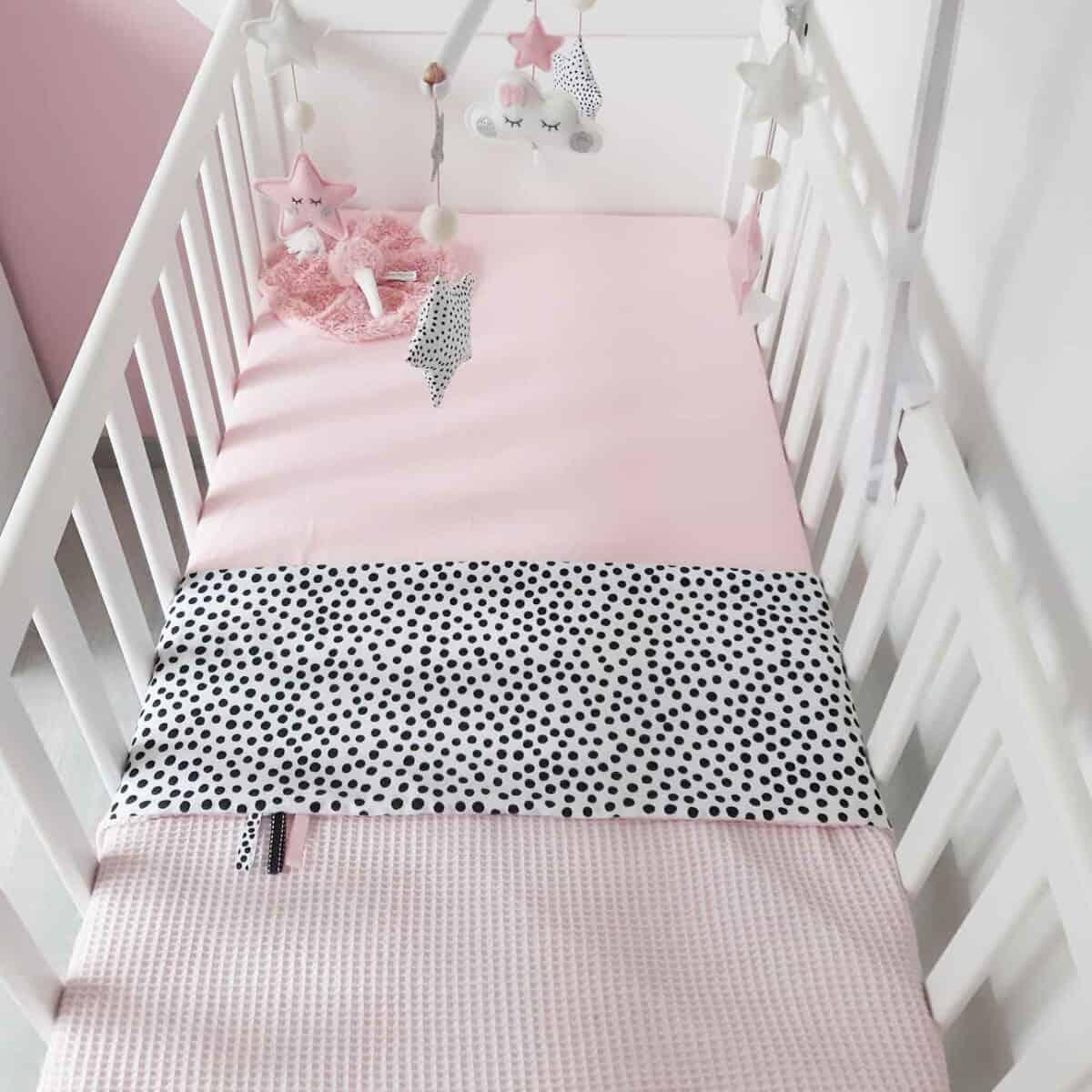 Babydeken wafel licht roze