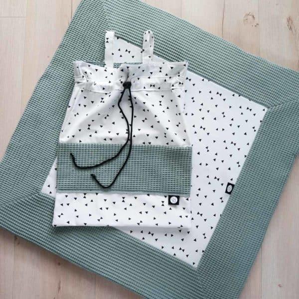 vierkant boxkleed in saphire wafel met zwart wit print
