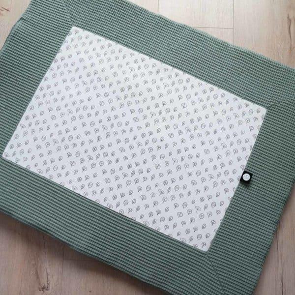 Boxkleed wafel groen met boompjes print rechthoek