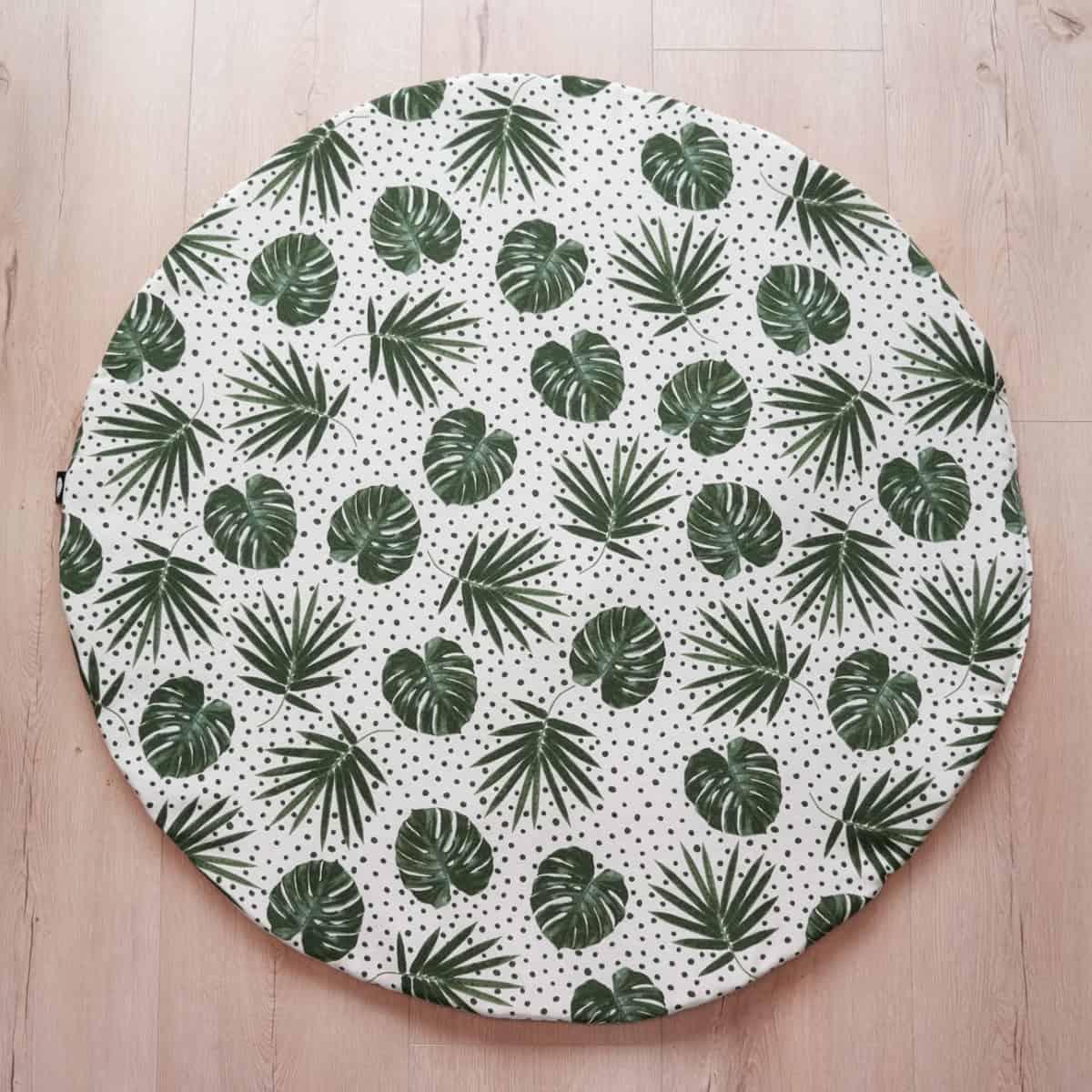 rond boxkleed in botanische print met okergeel wafelstof