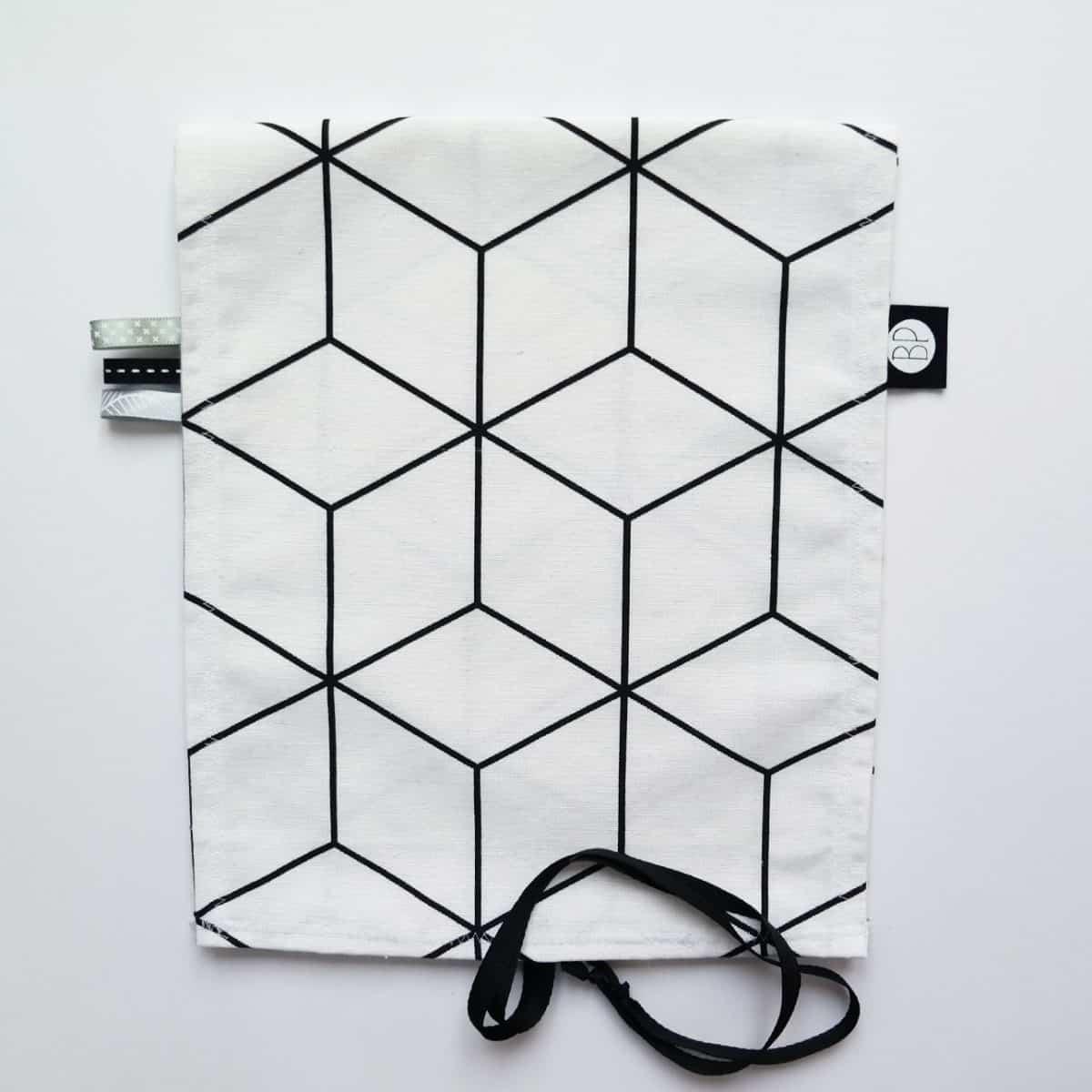 omkleedkussenhoes aankleedkussenhoes zwart wit kubus