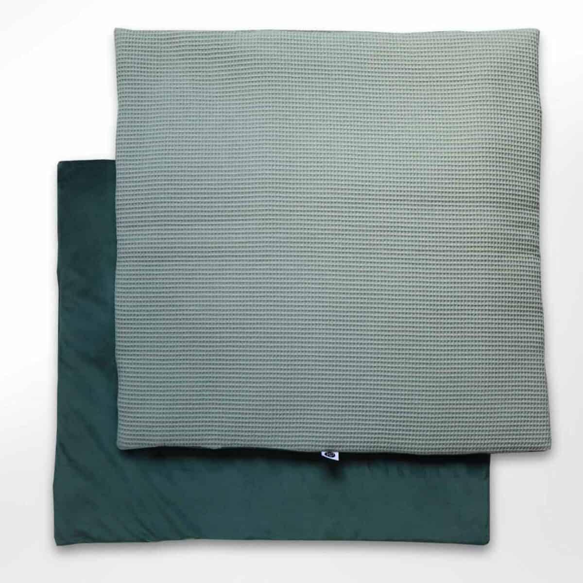 Vierkant boxkleed velvet groen