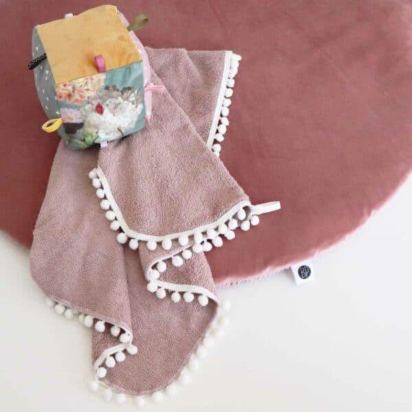 Rond boxkleed velvet roze 1