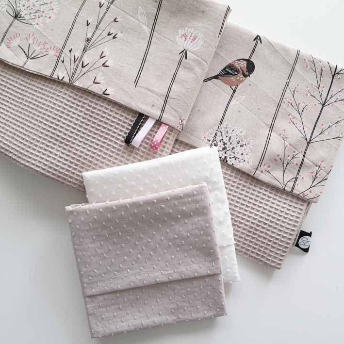 Wafeldeken met vogel print en bijpassende lakens
